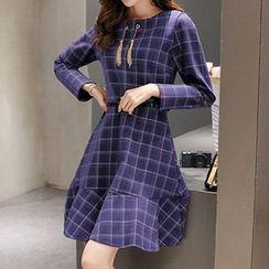 Romantica - Long-Sleeve Ruffled Plaid Dress