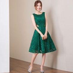 皇家尚品 - 無袖A字蕾絲禮服裙