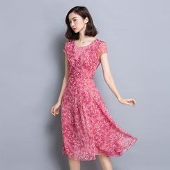 Raison d'etre - Cap-Sleeve Floral Chiffon Dress