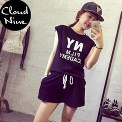 Cloud Nine - Set: Sleeveless Lettering T-shirt + Shorts