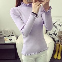 anzoveve - Frill Trim Ribbed Knit Top
