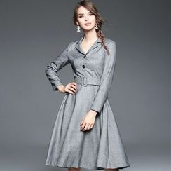 Ozipan - Long-Sleeve Belted Dress