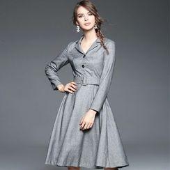 歐依潮派 - 長袖飾腰帶連衣裙