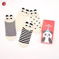 Socka - 4雙裝可愛卡通小熊貓條紋純棉短襪