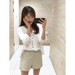 hellopeco - Collarless Faux-Pearl Button Blouse
