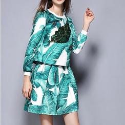 Rosesong - 套装: 亮片树叶长袖上衣 + A字裙