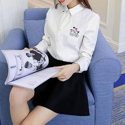 Neeya - 刺繡長袖襯衫