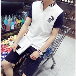 Izme - Set: V-Neck Short-Sleeve T-Shirt + Shorts