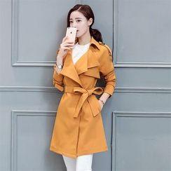 Donnae - 纯色风衣连饰带