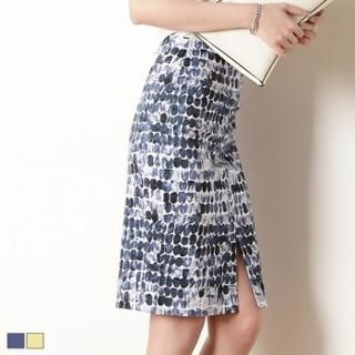 MAGJAY - Slit-Front Patterned Pencil Skirt