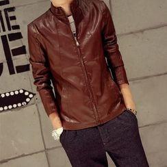 Keerme - Faux-Leather Zip Jacket