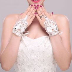 Suaylla - Embellished Lace Wedding Gloves