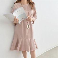 PIPPIN - Ruffle-Hem Cotton Midi Dress