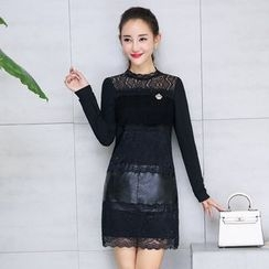 AiSun - Knit Panel Long Sleeve Mini Lace Dress