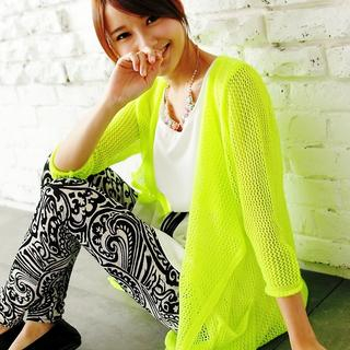 BAIMOMO - 3/4-Sleeve Open-Knit Cardigan