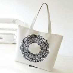 Aoba - Printed Canvas Shopper Bag