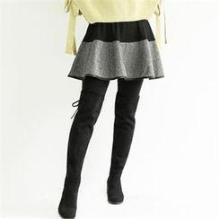 GLAM12 - Inset Color-Block Skirt Leggings