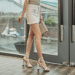 UUZONE - Distressed-Hem Zip-Trim Miniskirt