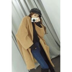 ATTYSTORY - Wide-Lapel Wool Blend Long Coat