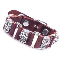 KINNO - Skull Stud Genuine Leather Bracelet