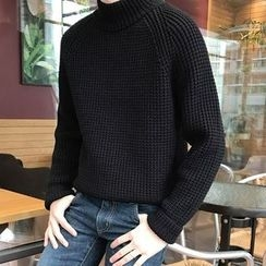 TOMONARI - Mock-Neck Wool Blend Waffle-Knit Sweater