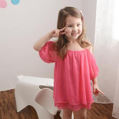 Lemony dudu - Kids Off-Shoulder Chiffon Dress
