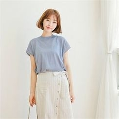 Styleberry - Round-Neck Cap-Sleeve Knit Top