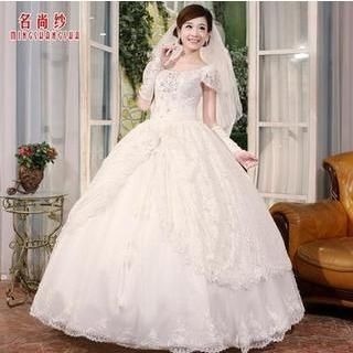 MSSBridal - Cap-Sleeve Rosette Lace Ball Gown Wedding Dress