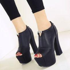 安若 - 露趾粗跟厚底踝靴