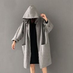 Melon Juice - Plain Hooded Knit Jacket