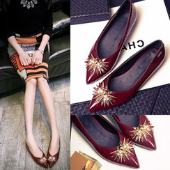 Kireina - 寶石飾漆皮平跟鞋
