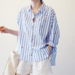 Jolly Club - Long-Sleeve Striped Blouse