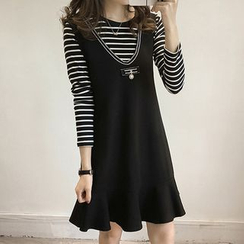 Fashion Street - Set : Stripe Long-Sleeve T-shirt + Sleeveless Dress