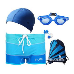 Aqua Wave - Set : Swim Shorts + Swim Cap + Goggles + Drawstring Bag + Ear Plugs + Nose Clip
