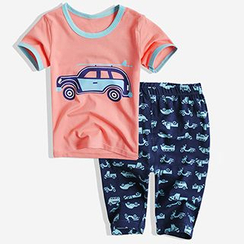 Happy Go Lucky - Kids Set: Printed Short Sleeve T-Shirt + Band Waist Pants