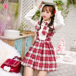 Candy Rain - Long-Sleeve Mock Two Piece Woolen Dress