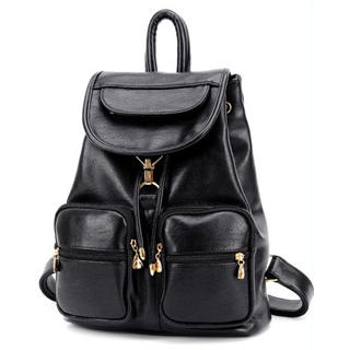 BeiBaoBao - Faux-Leather Drawstring Flap Backpack