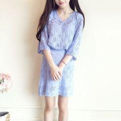 Cherris - Set: Pointelle Knit Sweater + A-Line Skirt