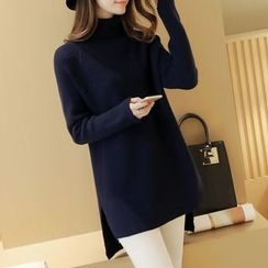 NIZ - Turtleneck Slit-Side Long Knit Top