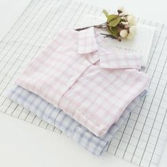 Bonbon - 3/4-Sleeve Plaid Shirt