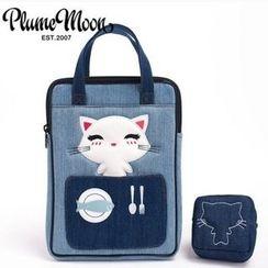 Plume Moon - Cat-Applique Denim Tablet Sleeve (iPad Mini / iPad Air)