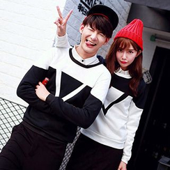 Azure - Set: Couple Contrast Block Pullover + Pants