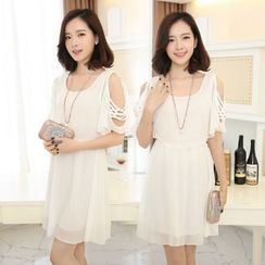 Lovebirds - Cutout-Shoulder Chiffon Dress