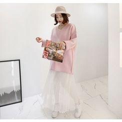 Miamasvin - Sleeveless Chiffon-Hem Long Dress