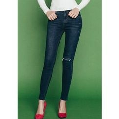 Chlo.D.Manon - Slit-Knee Washed Skinny Jeans