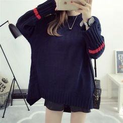 YAMI - Contrast Stripe Long Sweater