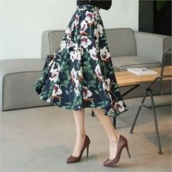CHICLINE - A-Line Floral Skirt