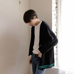 Seoul Homme - Contrasted-Trim V-Neck Cardigan