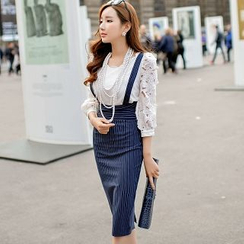 Dabuwawa - Suspender Stripe Midi Pencil Skirt