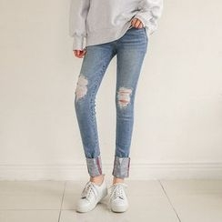 Seoul Fashion - Distressed Washed Skinny Jeans